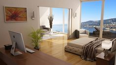 Contemporary Villa - Master Bedroom with Terrace and Sea View