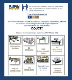 "Ask for First Choice Industrial in Booth 5035 to discuss the ""right"" Doucet Woodworking Machinery solutions for your specific production needs. http://firstchoiceind.net/blog/?p=16637"