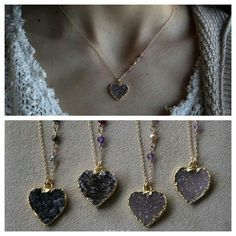 Atelier Gaby Marcos - Drusy Heart Necklace #valentinesday #giftideas #drusy #love #jewelry