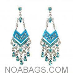 Boucles d'Oreilles Fantaisies pendantes Orientales Strass et Perles Bleu