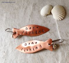 Fish Earrings Copper Fish Hand Stamped earrings Gone Fishing Sayings Charm Earrings Patinated to bring out the imprint. Coated with a high grade jewelry clear coat to prevent tarnishing. Handcrafte…