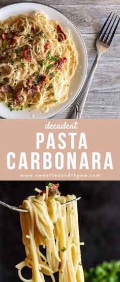 This carbonara recipe is creamy decadent and oh so good. A rich creamy sauce with egg yolks and parmesan cheese mix into hot pasta bacon shallot garlic and black pepper for a quick and easy dinner that is ready to impress anyone. Pasta A La Carbonara, Bacon Carbonara, Bacon Pasta, Pasta Cheese, Cheese Sauce, Easy Carbonara Sauce, Easy Pasta Carbonara Recipe, Chicken Carbonara, Italian Recipes