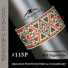 Peyote bracelet pattern, odd count, peyote pattern, stitch pattern, pdf file, pdf pattern, #115P
