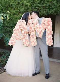 Floral Initials - from Poppy's Petalworks on SMP: http://www.StyleMePretty.com/2014/03/10/peach-inspired-farm-wedding-at-carneros-inn/ Jen Huang Photography