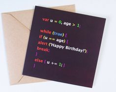 For the developer or computer geek in your life, a syntax highlighted code snippet to tell someone happy birthday! Happy Birthday Messages, Birthday Wishes, Birthday Cards, Birthday Gifts, Gifts For Programmers, Geek Birthday, Birthday Ideas, Programming Humor, Engineer Prints