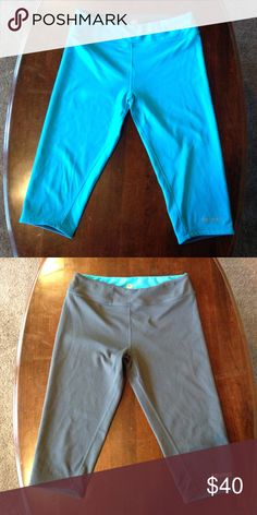 REVERSIBLE Marmot Leggings Vibrant turquoise blue or versatile slate grey - you get both with these below-the-knee leggings. Stretchy, thick fabric is super flattering, and with both color choices you can wear these with anything! Slim hidden pocket in the wide waist band. In excellent gently used condition. Marmot Pants Leggings