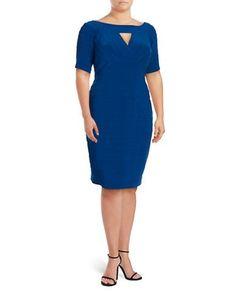 Adrianna Papell Plus Short Sleeve Textured Sheath Dres Women's Night F
