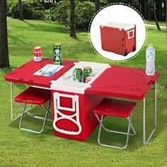 Giantex Multi Function Rolling Cooler Picnic Camping Outdoor w/ Table & 2 Chairs Red