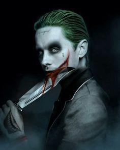 """((Open character)) The Joker. In his own mad way he loves Harley Quinn and his daughter Mavis (Ace). Even though he does abuse Harley at times. He's an influential person and large gang leader in Gotham. Calls Mavis his """"little Mavey"""" Jared Leto Joker, The Joker, Joker Art, Joker Pics, Hellboy Tattoo, Superman, Batman Batman, Joker Kunst, Joker Y Harley Quinn"""