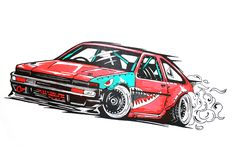 toyota corolla ae-86 drift car illustration