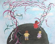 Your child is not stubborn or acting out, but making necessary accommodations. Judy Endow on the autistic difference in visual perception. Two Person Tail Intrusion, Art by Judy Endow. Back of child in red dress, child in pink dress and child in yellow shirt standing on earth with sky  and sun sparkles.
