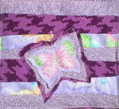Quilted Butterfly mug rug coaster purple and pink repurposed materials eco-friendly  free domestic shipping by elainenthesun on Etsy