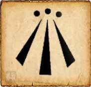 Awen.    En gaélico significa inspiración. Este símbolo representa la armonía entre lo opuesto. Cada uno de los dibujos de los extremos representan la dualidad, y la raya que se encuentra en el medio simboliza la armonía entre ellos.