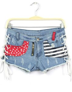 Blue Bandage Striped Stars Print Denim Shorts 19.00