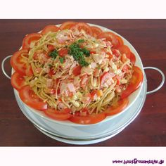Spaghetti-Salat Katrins Spaghetti Salat ist ein Spaghettisalatrezept mit Schafskäse, Schinken und Tomaten