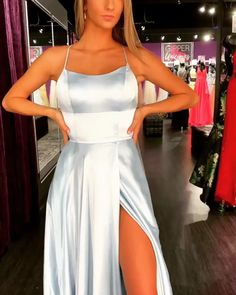 modest blue split prom party dresses with criss cross back, fashion formal evening gowns, gowns floor length sequin replica bride wedding dress gown prom dress formal dresses dress up elegant classy elegance Long Sleeve Gold Prom Dresses, Prom Outfits, Prom Party Dresses, Party Gowns, Dance Dresses, Ball Dresses, Wedding Dresses, Dress Prom, Simple Prom Dress, Bridesmaid Dresses
