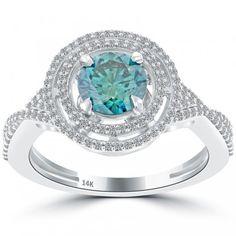 1.59 Carat Fancy Blue Diamond Engagement Ring 14k Gold Pave Halo Vintage Style