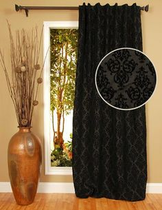 black drapes with caramel walls Paris Room Decor, Paris Rooms, Curtain Rails, Drapery Panels, Kitchen Window Treatments, Drapes Curtains, Color Splash, 42 Inch, Simple Rooms