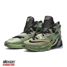 d37febc12e50 The LEBRON 13 features a grey-green upper inspired by the tones of winter in