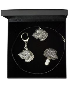 NEW, Irish Wolfhound, dog keyring, necklace and clipring in casket, DELUXE set…