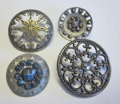 Four Vintage Pierced Metal Buttons. Blued Steels. Star Design  OneWomanRepurposed  B 616 by OneWomanRepurposed on Etsy