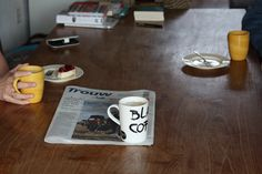 22 September - Coffe with mom and dad. Newspaper ahead of me.