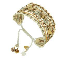 Bracelet manchette perles Melange et pendentifs (doré/beige), Fusion Gold Mishky