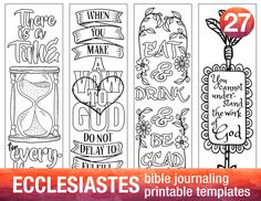 ECCLESIASTES - 4 Bible journaling printable templates, illustrated christian faith bookmarks, black and white bible verse prayer journal by BibleVerseColoring on Etsy https://www.etsy.com/ca/listing/480880480/ecclesiastes-4-bible-journaling