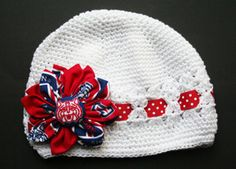 Your daughter will want to cheer on her team (the University of Arizona, of course! What to wear on UofA game day! Arizona Wildcats, University Of Arizona, Hello Brooklyn, Knit Crochet, Crochet Hats, White Beanies, Beanie Hats, Fabric Flowers, Baby Love