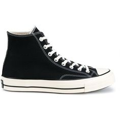 Converse classic hi-top sneakers (£46) ❤ liked on Polyvore featuring men's fashion, men's shoes, men's sneakers, shoes, men shoe's, menswear, black, converse mens sneakers, mens lace up shoes and mens black sneakers