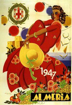 Repro 1947 Almeria Travel poster | eBay