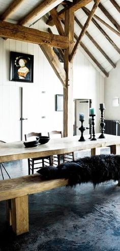 = wood, fur, and black concrete floor
