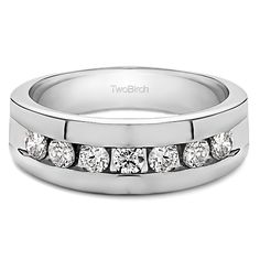 Charles Colvard Sterling Silver Men's 5/8ct TGW Moissanite Wedding Ring (Two Tone Sterling Silver, Size 4), Two-Tone