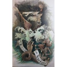 Watercolors illustration.  Mermaid and a galleon.