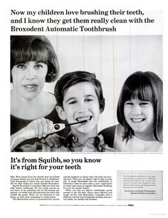 Toothbrush advertisement March 1965 shows hairstyles for mom & kids Valley College, College Library, My Children, Kids, Body Adornment, Child Love, Life Magazine, 1970s, Teeth