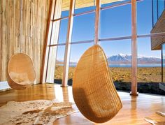 PLACES: Hotel Tierra Patagonia: design from the end of the world. Communal space: Egg by Nanna Ditzel.    #designbest #interiordesign #design  