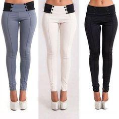 ebcc50ac35a2a Spodnie damskie Slim Slim Grey White Casual Stretch Skinny Legginsy Spodnie  Slim