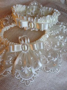 "The "" Juliette "" Cream Garter Set. Ships worldwide. Wedding Garters of distinction. https://www.etsy.com/listing/200585316/the-juliette-cream-garter-set?ref=shop_home_active_17"