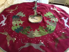 Christmas Tree Skirt with Whippets by tweedlefiberstudio on Etsy, $175.00