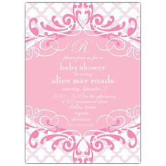 Scalloped Pink Baby Shower Invitations