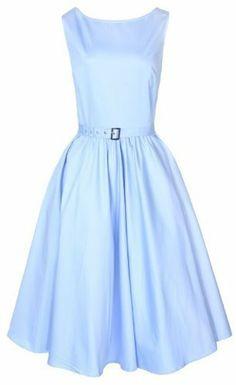 LINDY BOP CLASSY AUDREY HEPBURN STYLE VINTAGE LIGHT BLUE 1950's ROCKABILLY SWING DRESS:Amazon.co.uk:Clothing