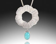 RESERVED For Elizabeth ~ Radiance ~ Sterling Silver Freeform Circle Pendant with Amazonite Drop ~ Artisan Handmade Necklace