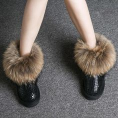 Women Boots Genuine Leather Real Fox Fur Brand Winter Shoes Warm Black Round Toe Casual Plus Size Female Snow Boots De Fur Ankle Boots, Ankle Heels, Shoe Boots, Women's Boots, Winter Boots Outfits, Winter Heels, Snow Boots Women, Leather Heels