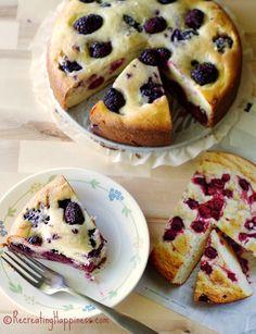 Gluten Free:  Airy, slightly sweet, berry ricotta cake - dessert or weekend breakfast