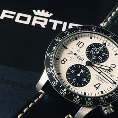 One of the great things about being the official UK servicing centre for Fortis watches are the amazing types of Fortis watches we see for service. This white dial B-42 #chronograph is one of our favourites.  #Fortis #Watches