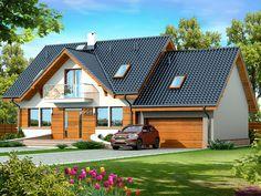 DOM.PL™ - Projekt domu DN KARMELITA GOLD 2M CE - DOM PC1-56 - gotowy koszt budowy Design Case, Bungalow, House Plans, Sweet Home, Villa, Farmhouse, House Design, Cabin, How To Plan