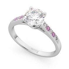 Cathedral Pink Sapphire & Diamond Engagement Ring 14k White Gold 0.20ct - U2781 Best Diamond, Diamond Cuts, Engagement Ring Settings, Diamond Engagement Rings, Sapphire Diamond Engagement, Pink Gemstones, Pink Sapphire, Colored Diamonds, Cathedral