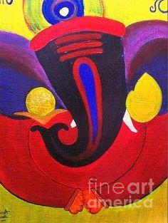 Ganesha Painting by Rekha Artz