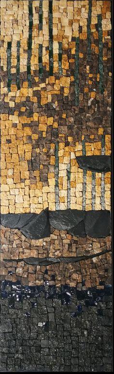 Mosaïque en marbre, granit, pierre naturelle, ardoise et pâte de verre by Ng mosaïque Firewood, City Photo, Texture, Marble Mosaic, Slate, Painted Canvas, Drinkware, Granite Counters, Surface Finish