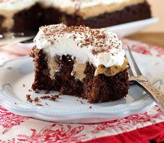 Chocolate Peanut Butter Pudding Poke Cake | Baking and Cooking Blog - Evil Shenanigans
